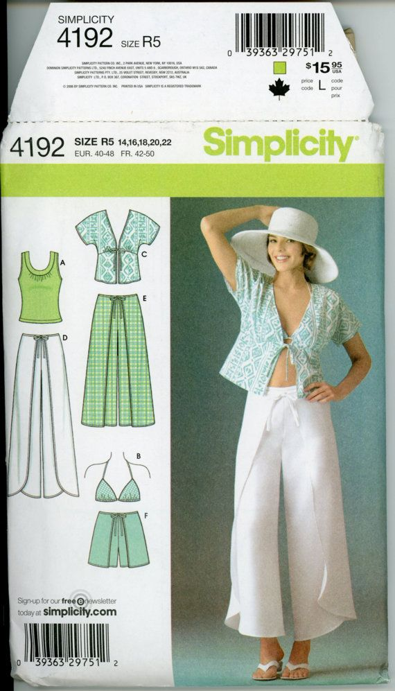 womens wrap pants pattern uncut simplicity 4192 dhoti tie on pants diaper shorts wrap shorts bra