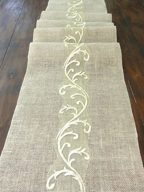 Burlap table runner wedding table runner with gold embroidery rustic chic, Handmade in the USA via Etsy