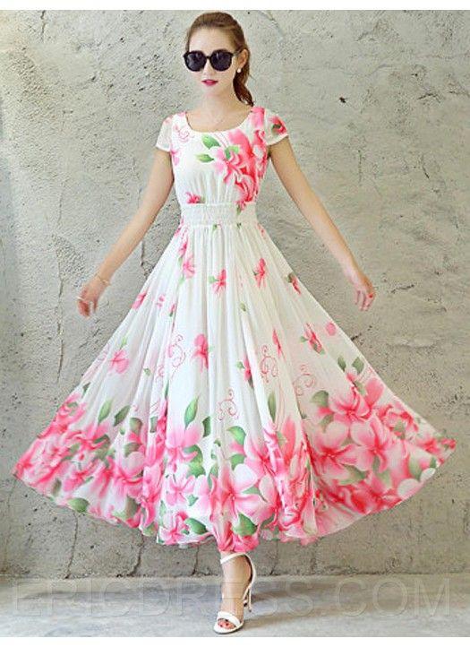 Fastkharidi Pink White Fl Printed Faux Georegette Maxi Dress Looksgud In Pinkandwhite Stayle 2018 Pinterest Dresses