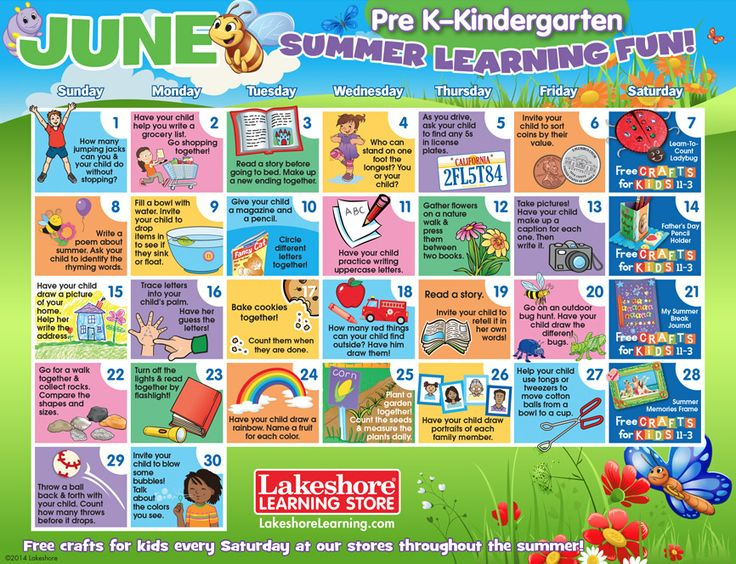 Kids Learning Calendar : Keep kids learning all summer with these printable