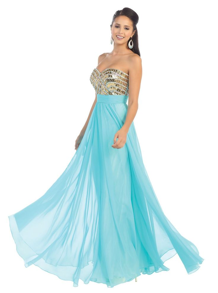 Strapless Prom Sheer Overlay Formal Evening Long Formal Gown - The Dress Outlet…