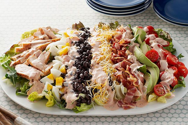 Here's a classic Cobb salad with a Southwestern accent, thanks to black beans, chunky salsa and a blend of Mexican-style shredded cheeses.