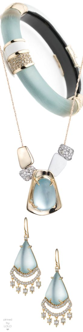Alexis Bittar Crystal Encrusted Hinge Bracelet, Pendant Necklace, and Lucite Earrings