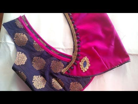 very simple and beautyfull blouse back neck designe cutting and stitching at hom - YouTube