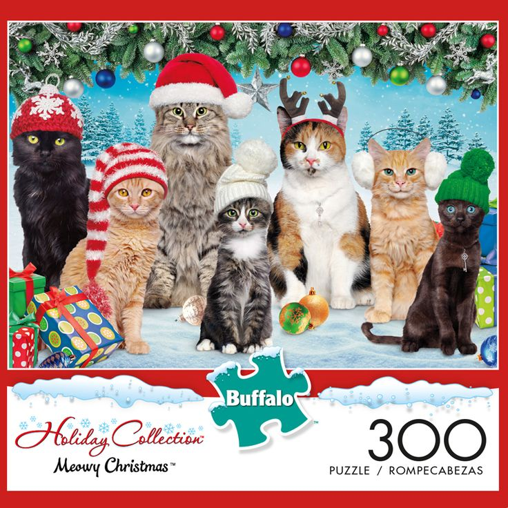 Adorable Animals Meowy Christmas 300 Large Piece Jigsaw