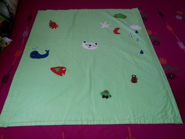 Hand stiched Baby quilt used by both sides filled with felt and beautiful design with patch work.... own creation