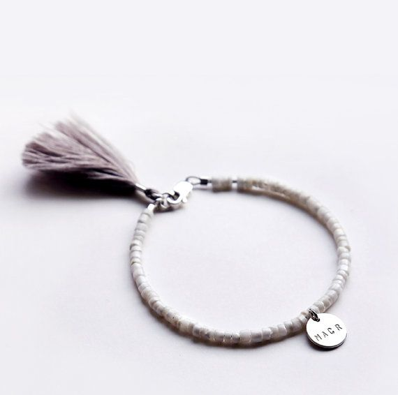 194 best l u c a j e w e l r y images on pinterest bar beaded white initial pendant bracelet with tassel by personalized bracelet delicate bracelet summer jewelry mozeypictures Image collections