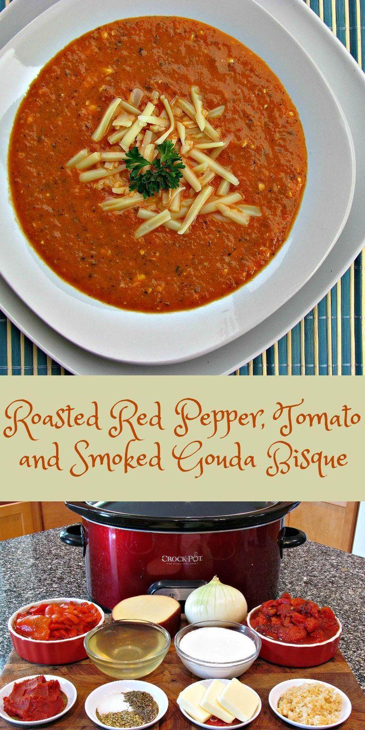 Gebratene Paprika-Tomate und geräucherte Gouda-Bisque