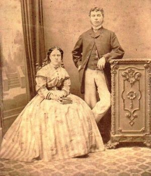 "Jack the Ripper's second victim (or third victim if Martha Tabram is included), ""Dark"" Annie Chapman with her husband John in 1869."