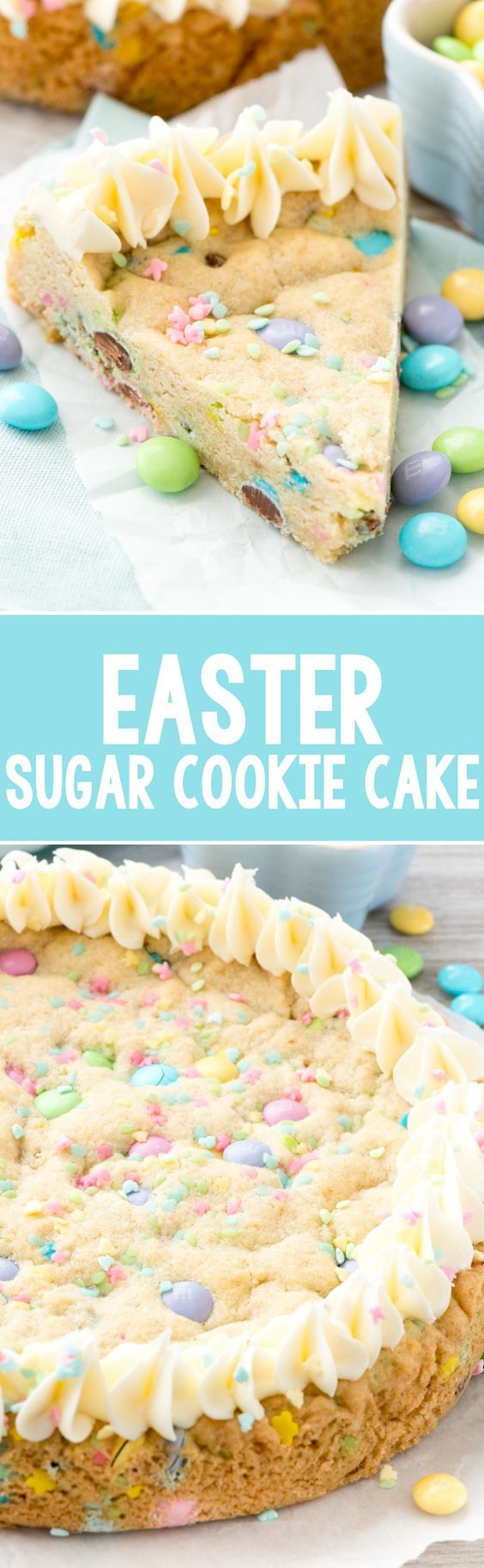 Easter Sugar Cookie Cake - this easy sugar cookie recipe is filled with spring M&Ms and sprinkles and baked in a cake pan. Make an easy frosting and you have the perfect spring cookie cake!