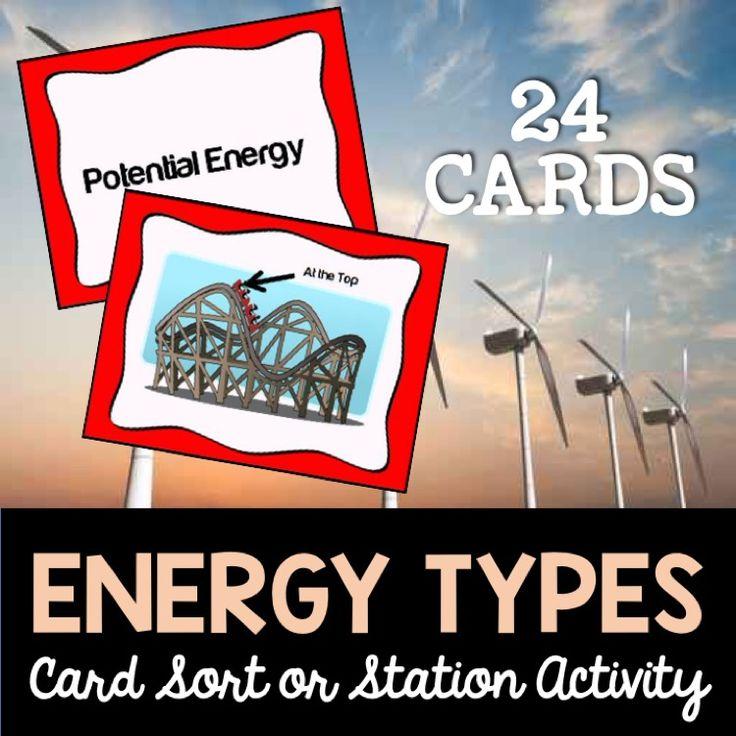 Energy types card sort.  Radiant Energy Chemical Energy Potential Energy Kinetic Energy Sound Energy Electrical Energy Thermal (Heat) Energy Nuclear Energy