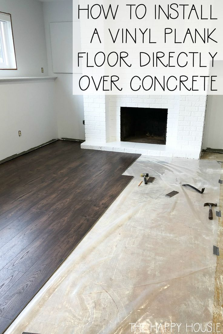 How To Install Vinyl Plank Over Concrete Orc Week 4 5 The Happy Housie In 2020 Vinyl Plank Vinyl Plank Flooring Basement Vinyl Plank Flooring