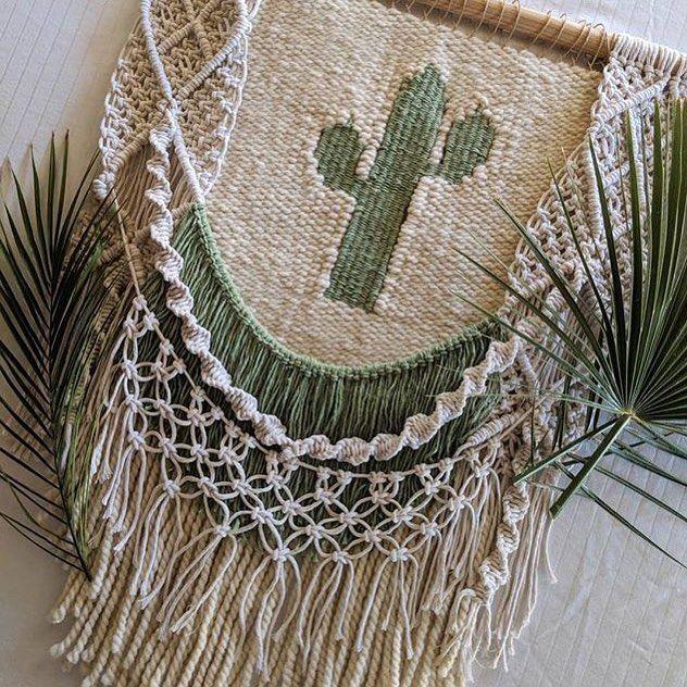 Bravo to @thehumblehippy  For not only creating a beautiful piece, but capturing the spirit of Arizona.  #neverstopneverstopping #beyourself #fiberart #cactus #phoenix #arizona #macrame #weaving #macraweave #wallart #wallhanging #rockmountainco