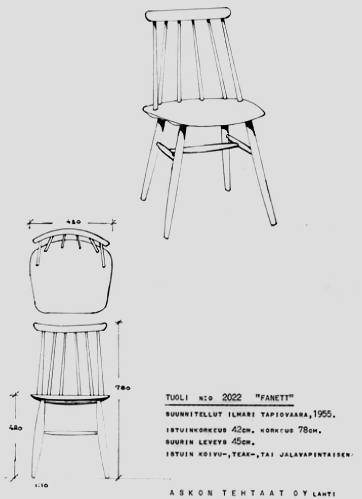 Tuoli Fanett, nro 2022, suunnitellut Ilmari Tapiovaara, Asko valmisti tuolia vuodesta 1955.