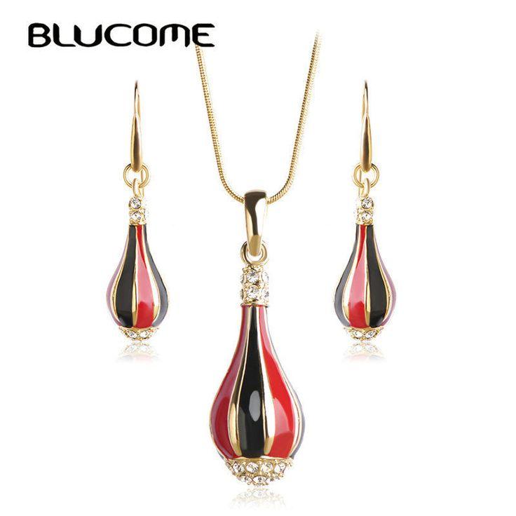 Blucome ваза Форма Ювелирные наборы красные,черные эмаль кристалл серьги + колье #Blucome