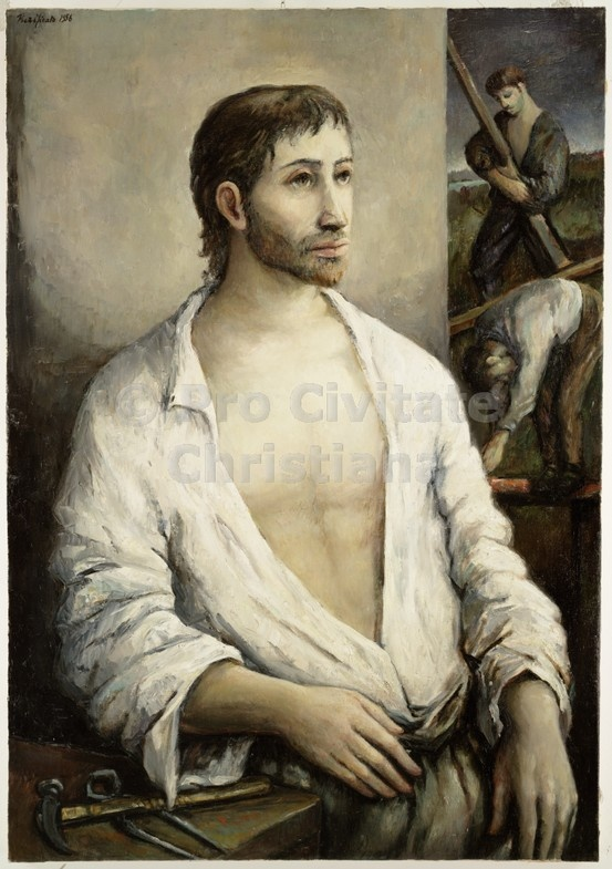 Jesus, the holy worker by Domenico Purificato (oil on canvas)