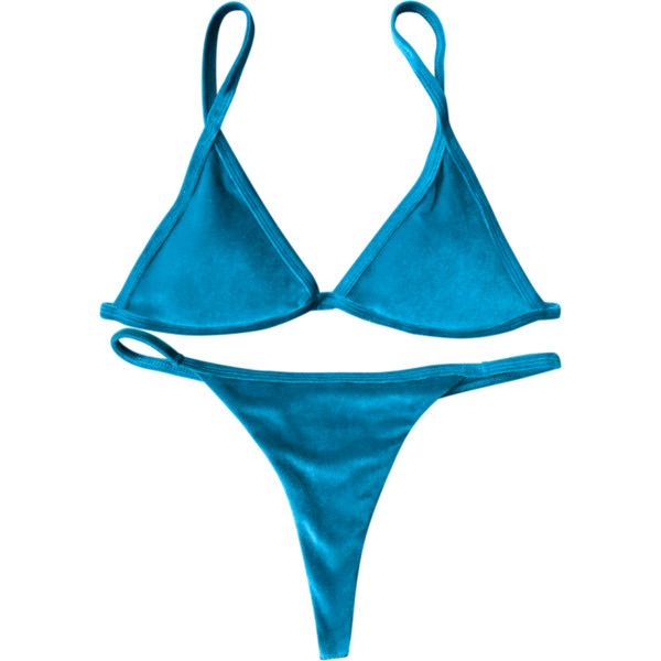 Cami Velvet String Thong Bikini Set Peacock Blue (20 CAD) ❤ liked on Polyvore featuring intimates, panties, velvet camisole, blue cami, gstring bikini, thong bikinis and g string bikini