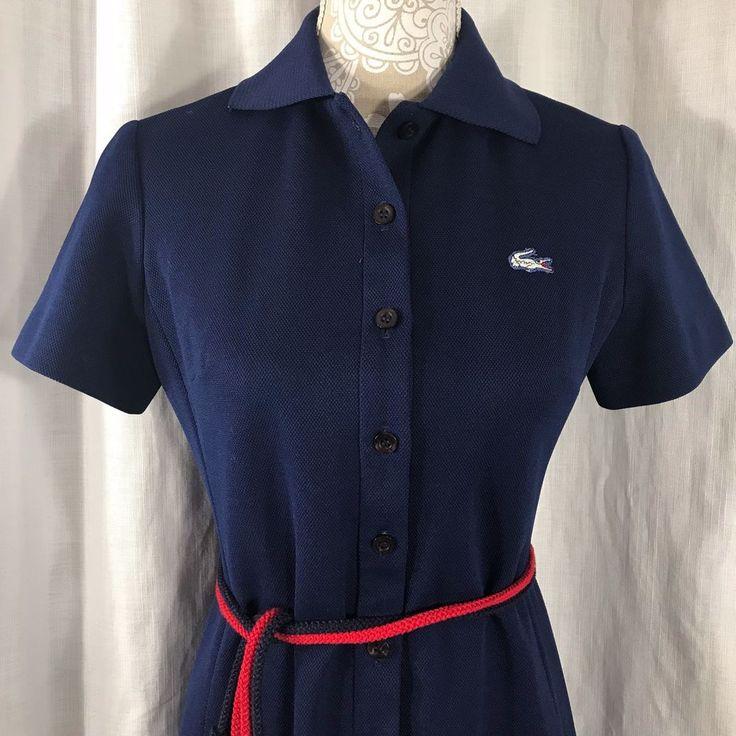 Vtg 60s Mod David Crystal Lacoste Shirt Dress Size 8 Navy Blue Alligator US Made #LacosteDavidCrystal #ShirtDress #EverydayBusinessCasual