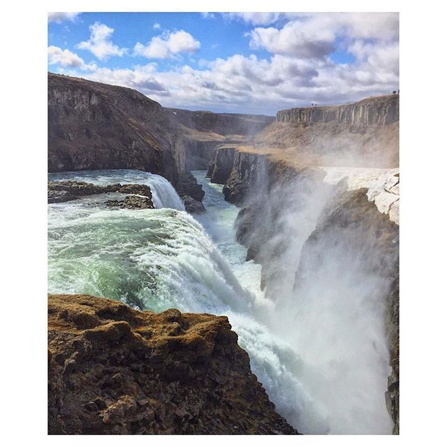 """Gullfoss - """"Golden Falls"""" - is a waterfall located in the canyon of the Hvítá river in southwest Iceland.The average amount of water running down the waterfall is 140 cubic metres per second in the summer and 80 cubic metres per second in the winter. You can feel the power of nature, it's so impressive.❤️ #iceland #gulfoss  #water #waterfall #nature #motivation #landscape #view #places #places_wow #beautiful #canyon #live #life #love #happy #sky #clouds #enjoy #fun #together #me #instagood…"""