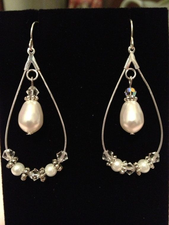 Bridal/ bridesmaid/ prom pearl and crystal by peeweespretties, $12.00