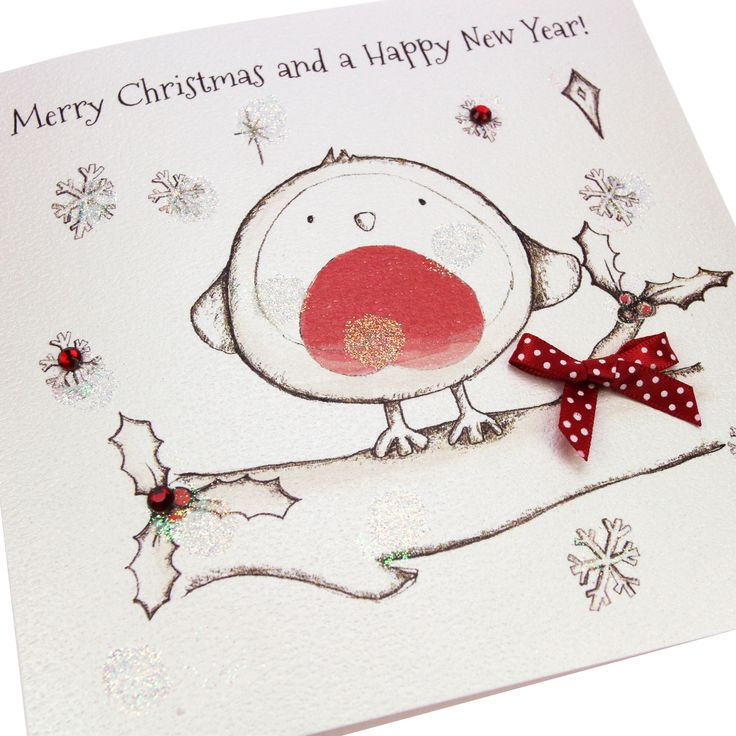 Handmade Luxury Embossed Glittered Christmas Card Cute Robin Red Polka Dot Bow Gems - 'Merry Christmas and a Happy New Year'