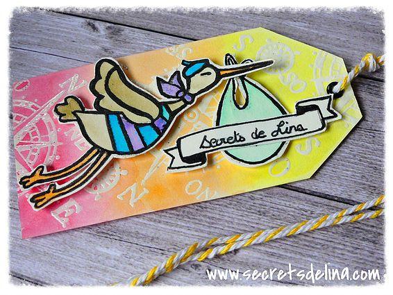 etiquette tag cigogne voyage aquarelle - trip stork watercolor #Secretsdelina #tag