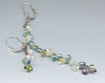 Fine dangle earrings of Tourmaline drops with Sterling silver - Nickel free - gift idea by gemorydesign. Explore more products on http://gemorydesign.etsy.com
