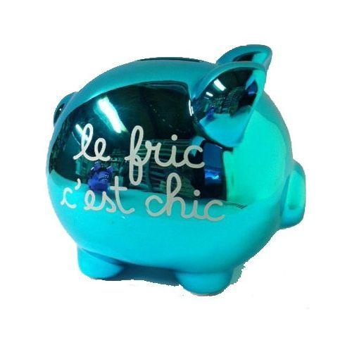 Porcellino Salvadanaio in ceramica lucida le fric c'est chic - 15x12 - azzurro metallizzato