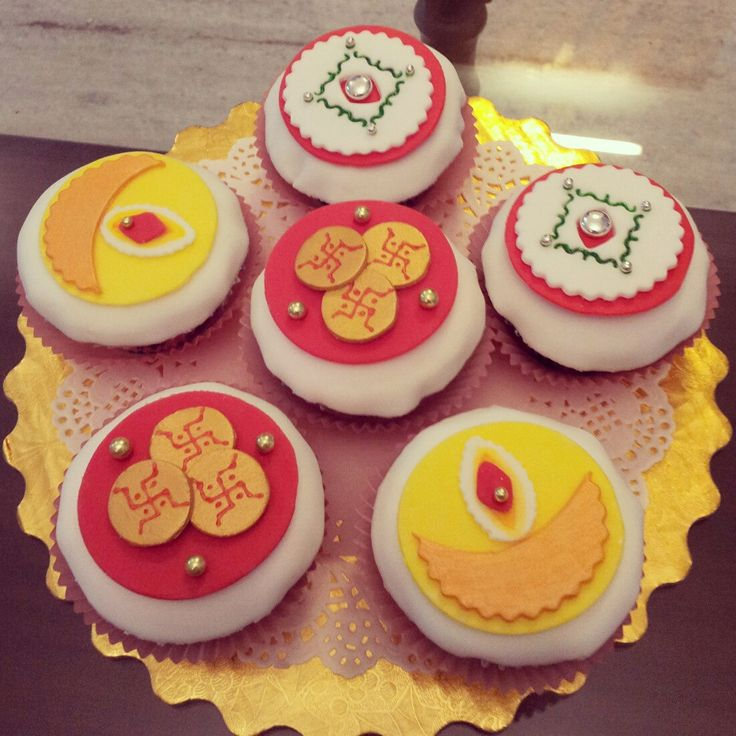 Happy Diwali! Cupcakes that I sent out this year :) - Imgur