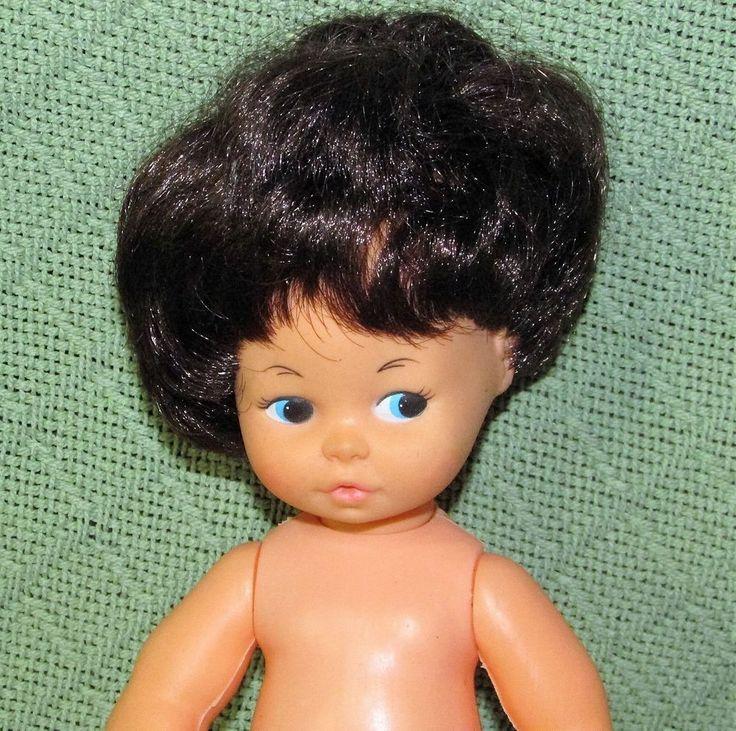 "Vintage PLAYMATES Doll 10"" Blue Eyes Dark Brown Hair Plastic Body HONG KONG Toy #Playmates #BabyDoll"