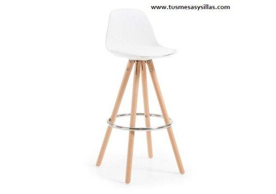 Oferta taburete de mostrador o barra de estilo nordico escandinavo con patas en madera de haya y asiento acolchado en blanco, negro, rojo y gris, barato, entrega rapida