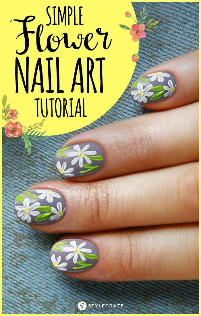 Flower Nail Art Simple And Easy Tutorial To Do Yourself