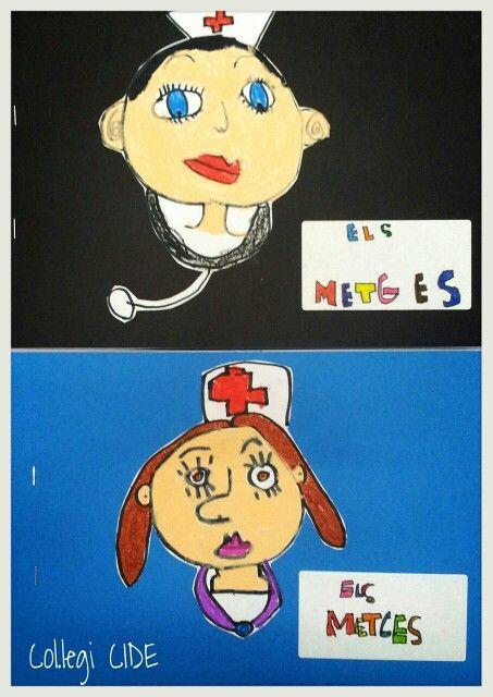 Portada projecte dels metges. Dibuix fet amb retolador negre i ceres. 5 anys.