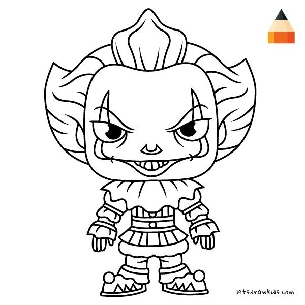 The Clown Pennywise Scary Character As Coloring Pages in ...
