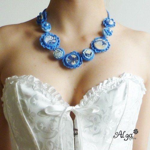 Crochet necklace Blue Buterfly/Náhrdelník Modrý motýl