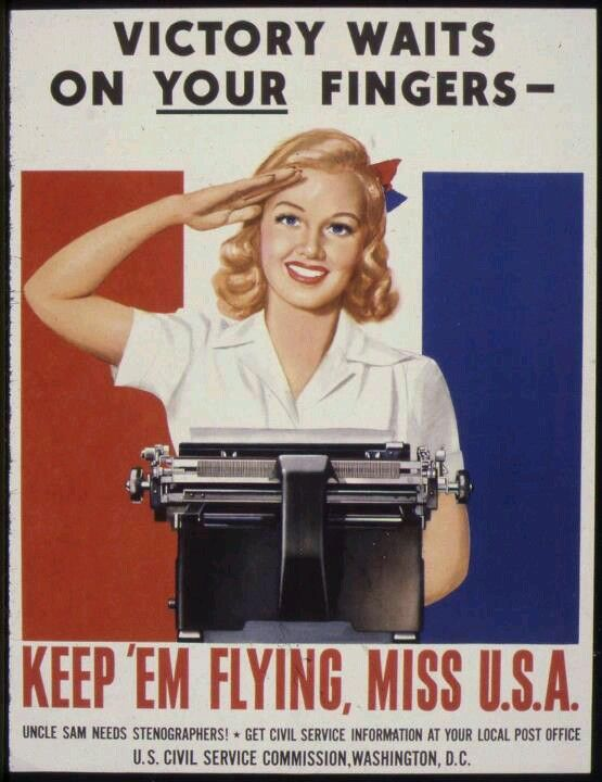 Federal Civilian Office Personnel - World War II - US Civil Service Commission - Vintage Recruiting Poster