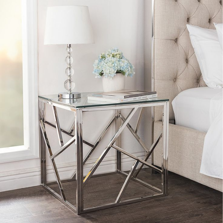 Bowman contemporary tempered clear glass end table/side table with sturdy stainless frame