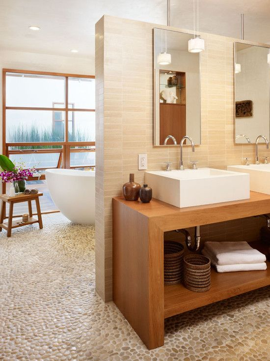 Natural #bathroom #design with pebble #floor