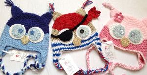 crochet pirate owl hats by Rubyand Custard