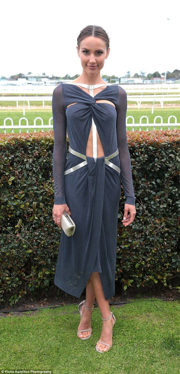 Rachael Finch.. steel-blue draped dress from Dion Lee.. with Suzy O'Rourke headpiece..