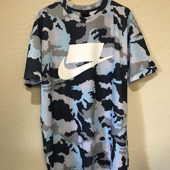 Nike Mesh Blue Camo Futura T Shirt Nwt Size Large Blue Camo Clothes Design Nike Shirts