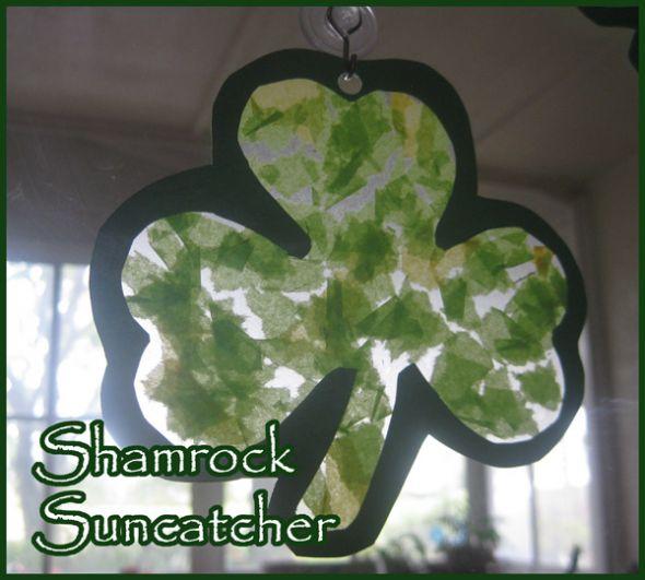 Shamrock Suncatchers St Patricks Day Craft for Kids