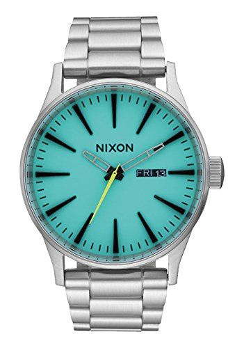 Nixon Sentry SS A356246000 Green  Silver Stainless Steel Analog Quartz Mens Watch ** Continue to the product at the image link.