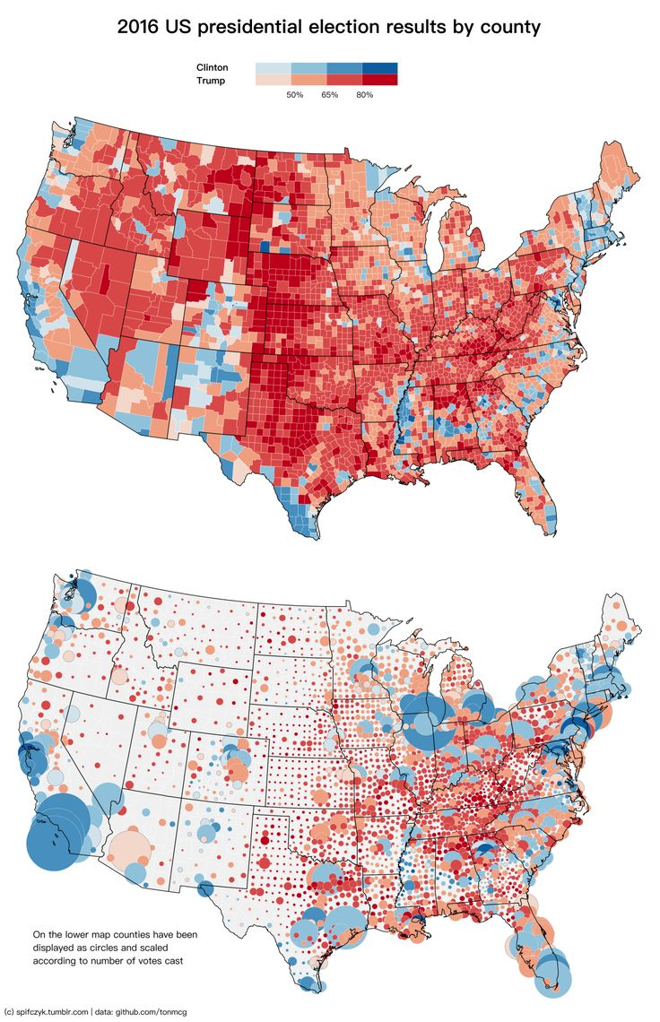 2016 U S Presidential Election Results By County On The Lower Map Counties Have Been Displayed