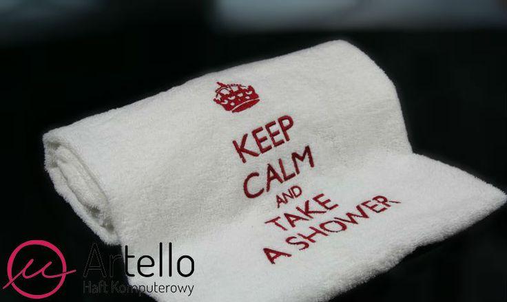 Ręcznik Keep calm and take a shower w Artello na DaWanda.com