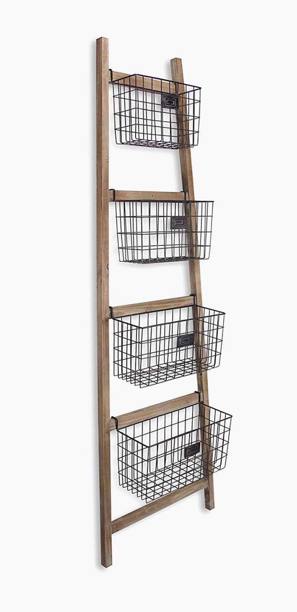 Ladder Shelf With Metal Cage Baskets Ladder Shelf Shelves