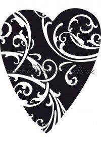 Dřevěné razítko, velikost G, srdce s ornamenty
