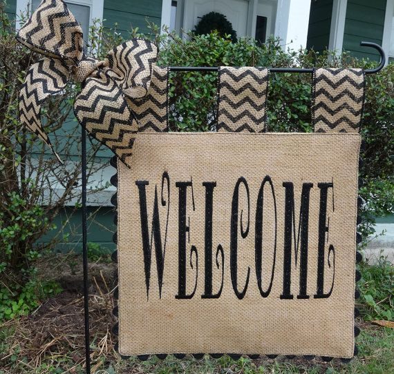 Burlap Garden Flag - Welcome Flag - Matching Chevron Tabs and Bow on Etsy, $25.00
