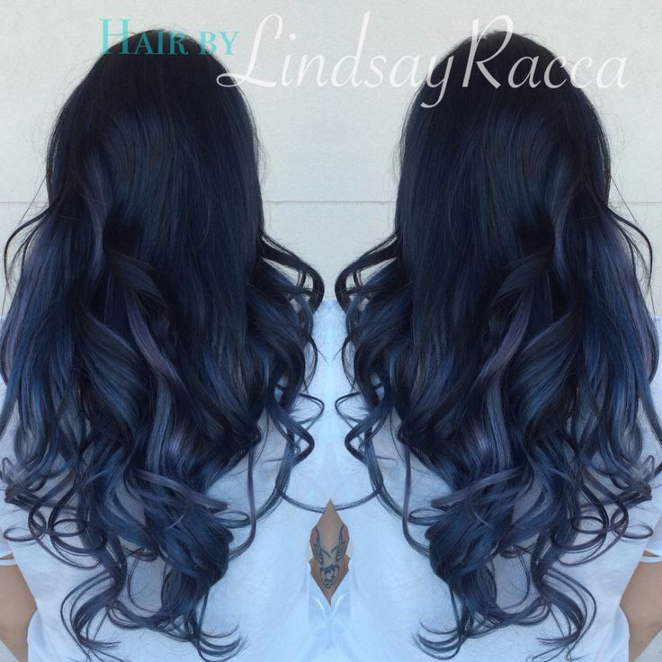 Black to grey slate blue ombre on extensions #blacktogreyombre #hair
