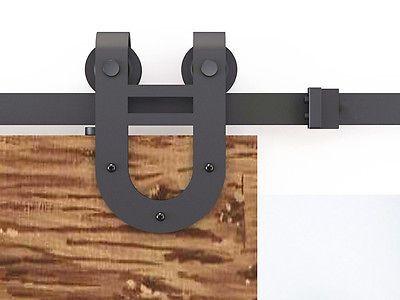 8ft Steel Black Rustic Barn Door Hardware Sliding Track 16